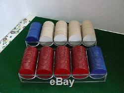 Vintage 250 Embossed Unbreakable Noiseless Poker Chips Set Same On Both Sides