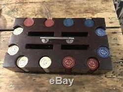 Vintage 264 Clay Poker Chips Set Carrier Dog Spirit Of St Louis Red White Blue