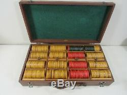 Vintage 437 Red, Butterscotch and Green Bakelite Chip Set in Case Box