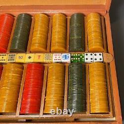 Vintage 465 Bakelite Catalin Marbled Swirl Poker Chips Game Set Cards & Dice