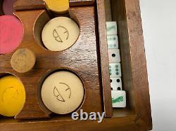 Vintage Antique Set Of Poker Chips In Wood Box