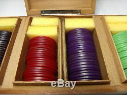 Vintage Art Deco Bakelite Poker Chips Set 138 pcs Scarce Colors 1 1/2
