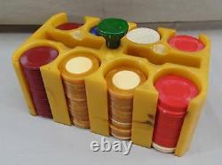Vintage Bakelite Butterscotch Poker Caddy Holder & Poker Chips Set
