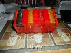 Vintage Bakelite/Catalin Marbled Red Poker Chip Holder set polished stunning