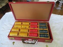 Vintage Bakelite Catalin Poker Chip Set Original Case Complete 400 Gaming Chips