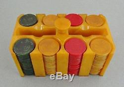 Vintage Bakelite/Catalin Poker Chip Set with 214 Chips & Caddy