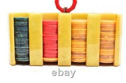 Vintage Bakelite Catalin Poker Chips and Bakelite Butterscotch Holder/Caddy SET