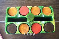 Vintage Bakelite Green Marbalized Poker Chip Holder 204 Translucant Chips