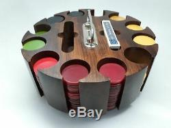 Vintage Bakelite Poker Chip Set And Wood Carousel Caddy 300+ Chips & Cards