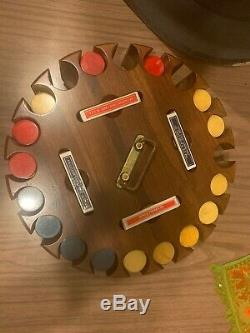 Vintage Bakelite Poker Chip Set Catalin Wood Carousel Caddy 390 Chips & Cards
