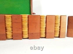 Vintage Bakelite Poker Chips Caddy Set with Wooden Inlay Walnut Carrier Box 300+