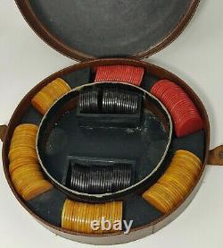 Vintage Bakelite Poker Chips Lot of 200 with 3 Different Colors Original Box set