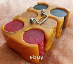 Vintage Bakelite Poker Chips and Caddy Set VERY NICE