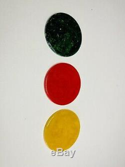 Vintage Boxed Set Of Bakelite Poker Chips 300 Yellow Red Green In Leather Box