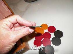 Vintage Boxed Set Of Bakelite Poker Chips 300yellow Red Green In Leather Box