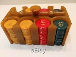 Vintage Butterscotch Bakelite Catalin Poker Chip Caddy Set With 194 Chips