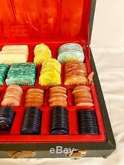 Vintage Casa Zanzi Argentina Bakelite Catalin Baccarat/Poker Chip Set WithCase