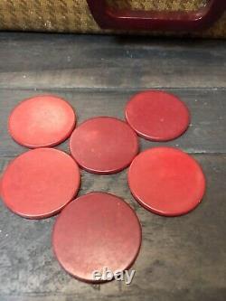 Vintage Catalin Bakelite Poker Chip Set Herringbone Case Abercrombie & Fitch