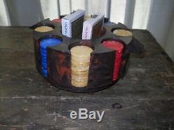 Vintage Catalin / Bakelite Poker Chips & Cards Set & Rotating Carousel Caddy