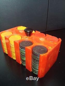 Vintage Catalin Bakelite Red Swirl Poker Chip & Rack Set 002