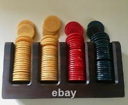 Vintage Catalin Poker Chips Set 101 Pc Marbled Red Yellow Blue In 70's Wood Rack