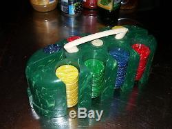 Vintage Catilin Bakelite Phenolic plastic Poker chip set