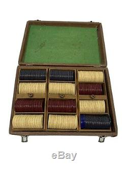 Vintage Clay Poker Chips with Case Rare Set