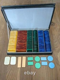 Vintage Dal Negro Poker Gambling Plaque Set Marbled Lucite Chips Italy