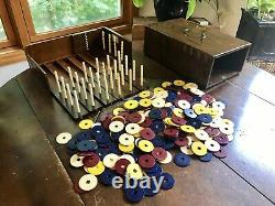 Vintage De Luxe Poker Chips Set Pyralin By DuPont In Wood Slide Out Chest RARE