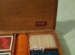 Vintage Donald Trump Wooden Casino Poker Chip Set Trump Plaza Atlantic City NJ