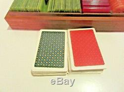 Vintage European Style Gaming Poker Chip Set Plaques Wood Box Cards