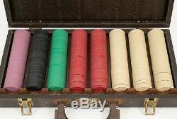 Vintage Gambling Casino Poker Chip Set & Case Clay Complete