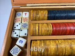 Vintage Game Set Of Bakelite Poker Chips 240 + Butterschotch Red Green In Box