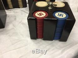 Vintage Good Luck Swastika Inlaid Poker Chips Set Of 441 With Case Rare Set