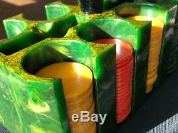 Vintage Green Bakelite Catalin Poker Chip Caddy Holder Set 166 Translucent Chips