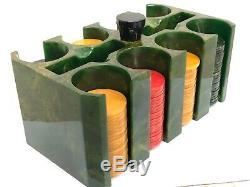 Vintage Green Bakelite Catalin Poker Chip Caddy Holder Set 166 Translucent Chips
