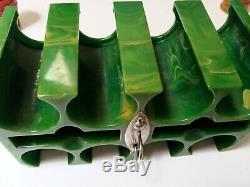 Vintage Green Bakelite Catalin Poker Chip Caddy Holder Set 196 Translucent Chips