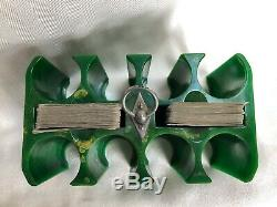 Vintage Green Swirl Bakelite Poker Chip Caddy Set With 187 Chips/2 Card Decks