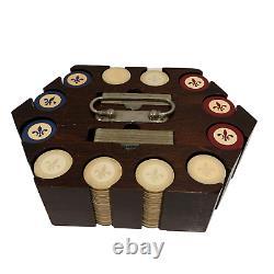 Vintage Large Poker Set Fleur-de-lis Rare Pocket Chips EXTRA CARDS No Key