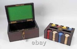 Vintage Large Poker Set Locking Wood Box Evening Star Clay Chips Rare
