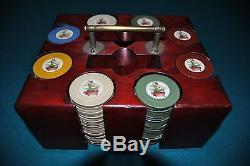 Vintage Litho Flamenco Dancer Poker Chip Set Carousel Pin Up Dancer Playing Card