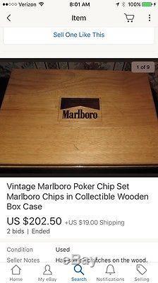 Vintage Marlboro Poker Chip Set Marlboro Chips in Collectible Wooden Box Case