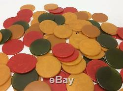 Vintage Mid Century Bakelite Poker 6 Ashtray Set with Chips & Box-Butterscotch