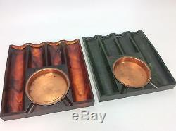Vintage Mid Century Bakelite Poker 6 Ashtray Set with Chips & Box-Butterscotch