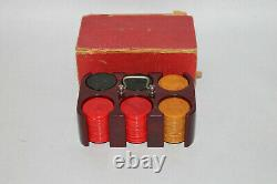 Vintage Miniature Bakelite Poker Chips in Original Caddy Holder Tray With Box