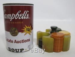 Vintage Miniature Catalin Bakelite Poker Chip Set in Butterscotch Caddy yqz