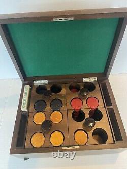 Vintage Octagonal Bakelite Poker Chip Set Wooden Carrier Box Playing Card Holder