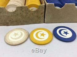 Vintage Paranoid Inlaid Star & Crescent Poker Chips Complete Sets In Box 200