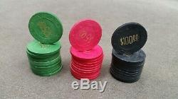 Vintage Paulson Poker Chip Set Top Hat and Cane