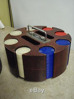 Vintage Poker Chip Carousel Solid Wood with Original Cover & Chips Complete Set